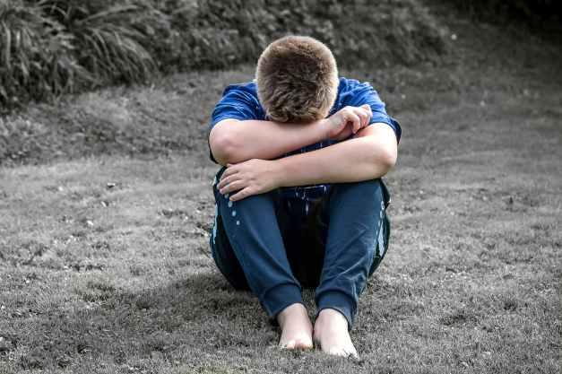 rear view of a boy sitting on grassland